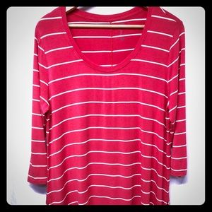 GAP Luxe Tunic Style Red & White Stripes Size L